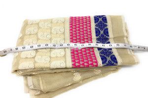 Embroidery On Cream Kota Checks Organza Fabric