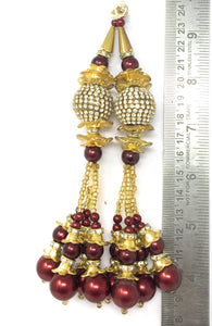 Maroon  Peral Latkan With Gold Mateal and White Stones