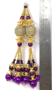 Purple Peral Latkan With White Stones
