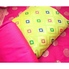 Load image into Gallery viewer, Parrot Green Brocade Dress Material with Pink Banarasi Dupatta - Dress Material