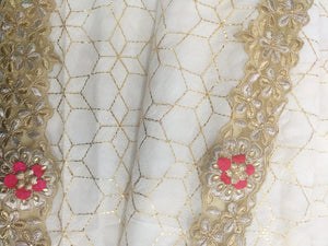 Georgette Sequin Saree In White