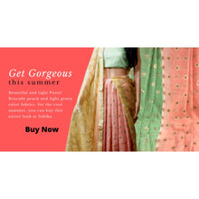 Load image into Gallery viewer, Green cotton dress material with Peach - Dress Material
