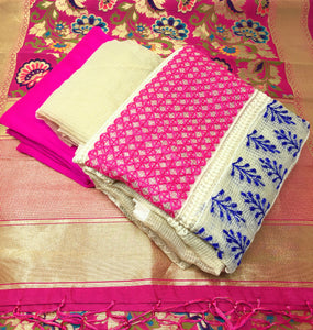 Pink Kimkhab Dupatta Dress Material