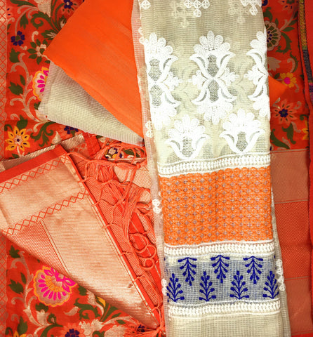 Orange Dress Material With Banarasi Kimkhab Dupatta