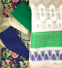 Load image into Gallery viewer, Green Kimkhab Banarasi Dupatta Dress Material Online