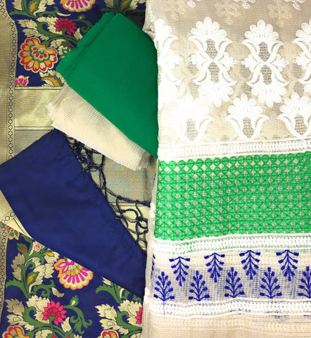 Image of Green Kimkhab Banarasi Dupatta Dress Material Online