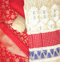 Load image into Gallery viewer, Red Dress Material With Banarsi Dupatta