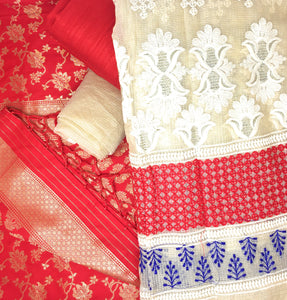 Red Dress Material With Banarsi Dupatta