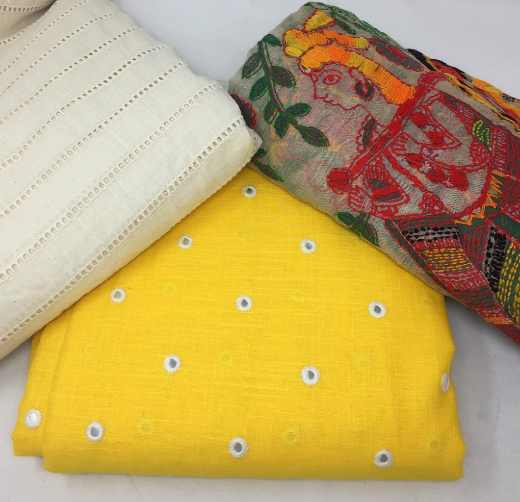 yellow colour cotton dress material