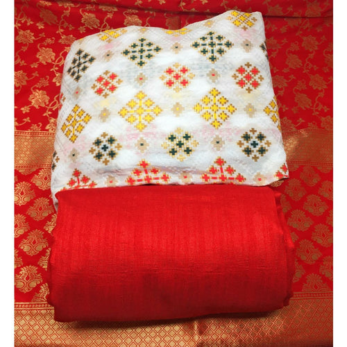 Brocade Red Dupatta and White Multicolour Dress Material - Dress Material