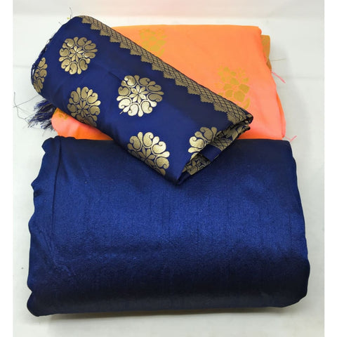 Peach Clour Brocade Material n Blue Brocade Dupatta Dress Material Set - Dress Material