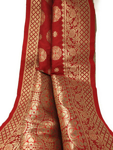 red banarasi brocade stole