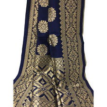 Load image into Gallery viewer, Peach Clour Brocade Material n Blue Brocade Dupatta Dress Material Set - Dress Material