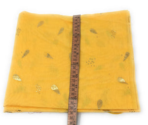 Yellow chunni in Chanderi Fabric n Gold Print