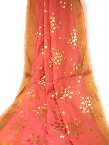 pink indian dupatta in Chanderi Fabric n Gold Print