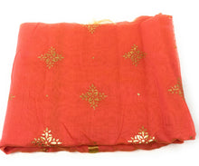 Load image into Gallery viewer, peach-stole-in-chanderi-fabric-n-gold-print