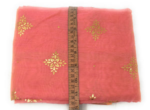 Pink stole in Chanderi Fabric n Gold Print