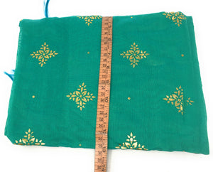 Green stole in Chanderi Fabric n Gold Print