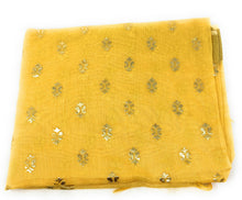 Load image into Gallery viewer, yellow-gold-print-dupatta-in-chanderi-fabric