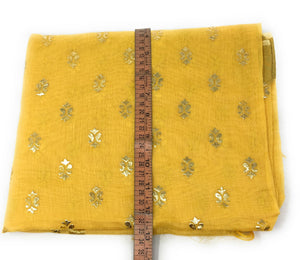 Yellow Gold Print Dupatta In Chanderi Fabric