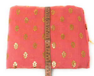 Pink Gold Print Dupatta In Chanderi Fabric