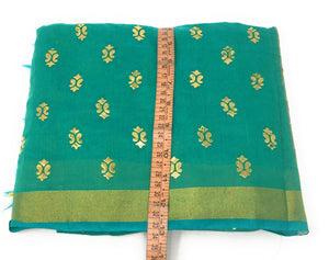 Green Gold Print Dupatta In Chanderi Fabric