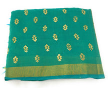 Load image into Gallery viewer, green-gold-print-dupatta-in-chanderi-fabric