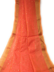 Gold Foil Printed Peach Dupatta In Chanderi Fabric