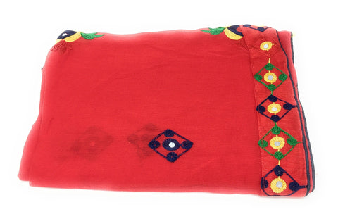 Red Embroidered Chiffon dupatta
