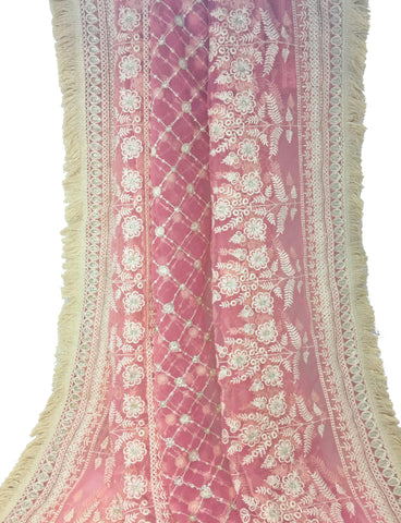 Dark Pink designer dupatta white embroidery on Net