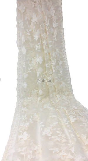 White Dupatta with White Embroidery on White Organza.