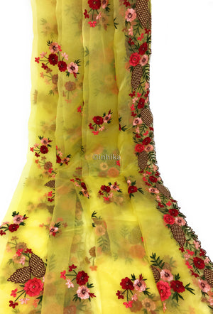 Light Fluffly Organza Dupatta With Embroidery Work in Multi Colour
