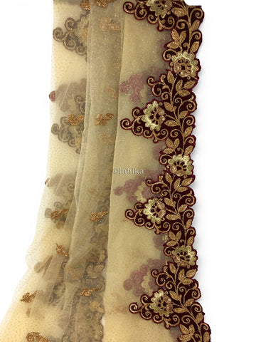Golden Net Dupatta, Velvet Border n Gold Embroidery