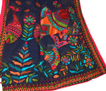 Designer Dupatta from India, Multicolour Fish Embroidery