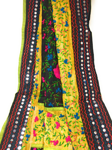 phulkari dupatta blackN Yellow