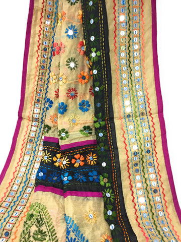 phulkari dupatta with mirror work