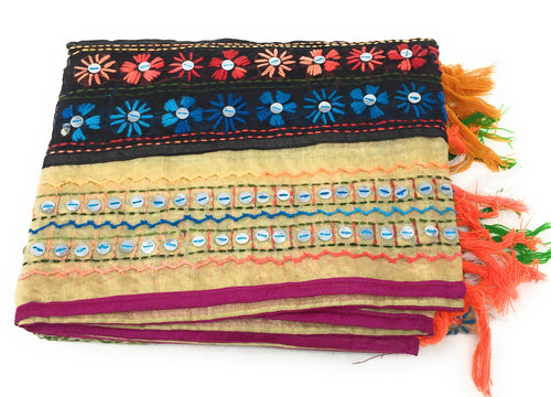 dupatta, Handwork, Embroidered, Faux Mirror Work, Kutchi Style