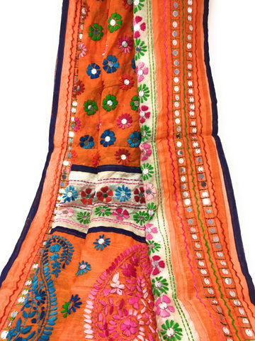 White Brocade dress material & Orange Phulkari Dupatta