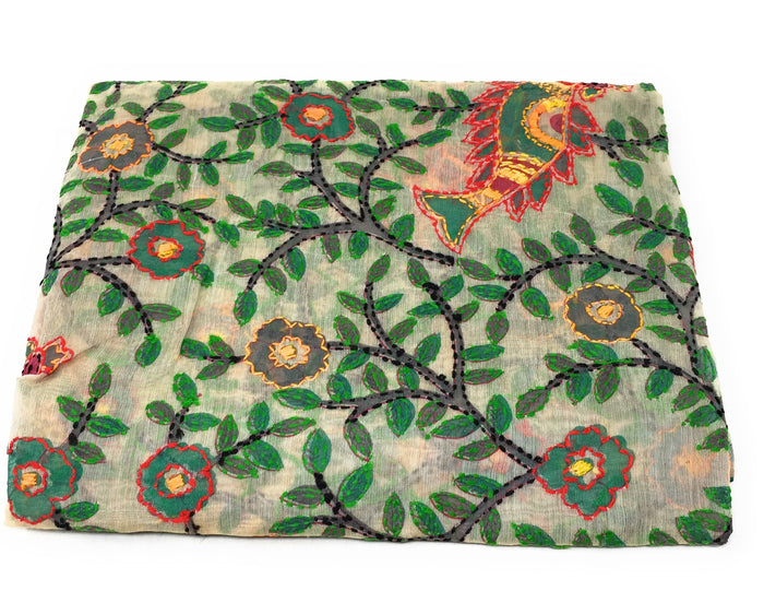 dupatta, Handwork, Embroidered, Printed Madhubani Work, Kantha Embroidery, Girl Pitcher motif