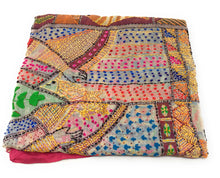 Load image into Gallery viewer, dupatta, Handwork, Embroidered, Printed Madhubani Work, Kantha Embroidery, Girl Pitcher motif