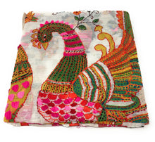 Load image into Gallery viewer, dupatta, Handwork, Embroidered, Printed Madhubani Work, Kantha Embroidery, peacock motif