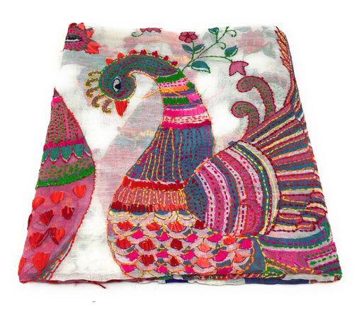 dupatta, Handwork, Embroidered, Printed Madhubani Work, Kantha Embroidery, peacock motif