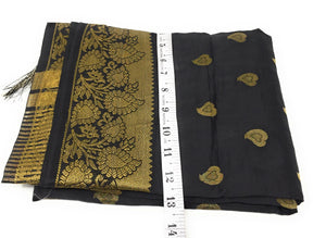Black Brocade Dupatta with Gold Paisley Motifs