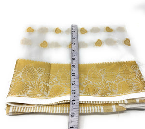 White Brocade Dupatta with Gold Paisley Motifs