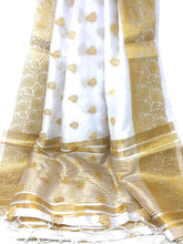 Load image into Gallery viewer, white brocade dupatta