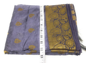 Grey Brocade Dupatta with Gold Paisley Motifs