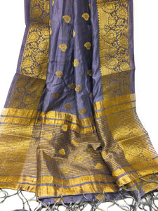 Grey brocade dupatta