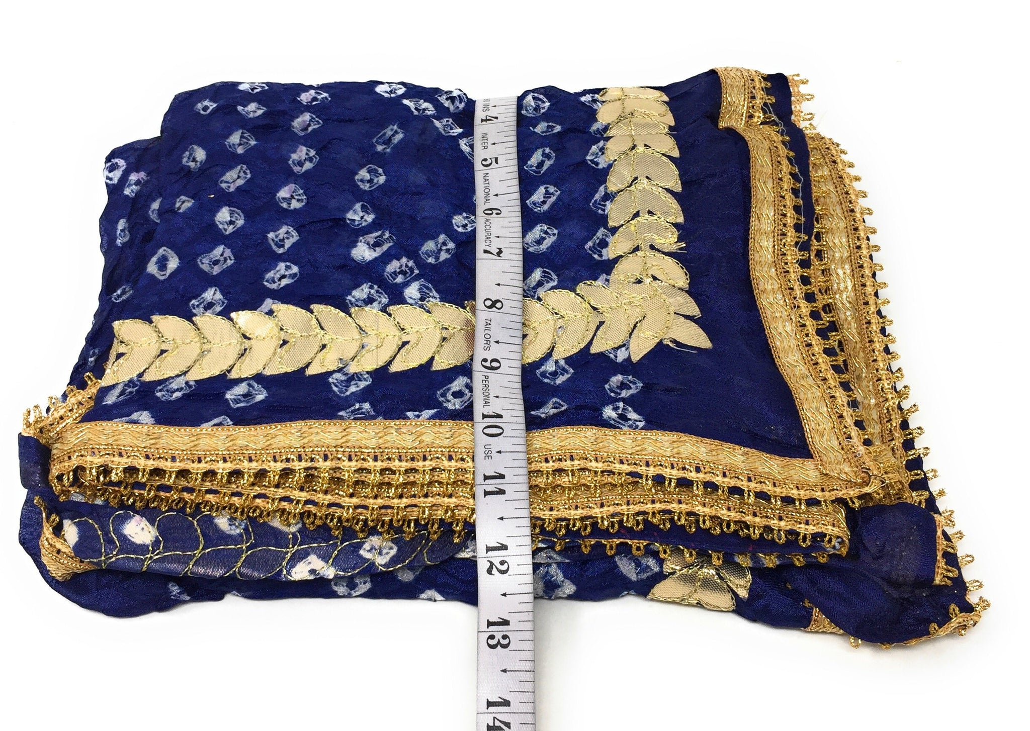 Art Silk Bandhani Dupatta in Navy Blue