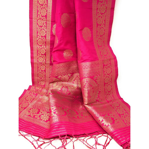 Parrot Green Brocade Dress Material with Pink Banarasi Dupatta - Dress Material
