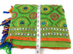 Multicolour Kutchi Embroidered Dupatta in Parrot Green